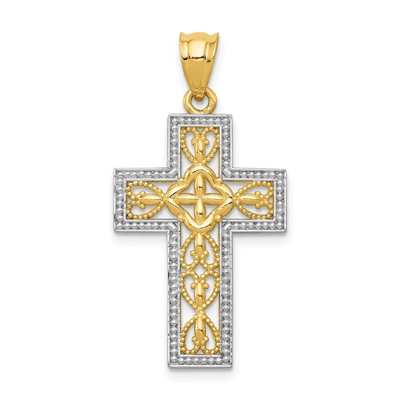 Quality Gold 14k w/White Rhodium Polished Filigree Cross Pendant