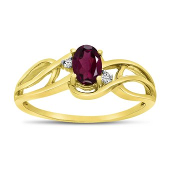14k Yellow Gold Oval Rhodolite Garnet And Diamond Curve Ring