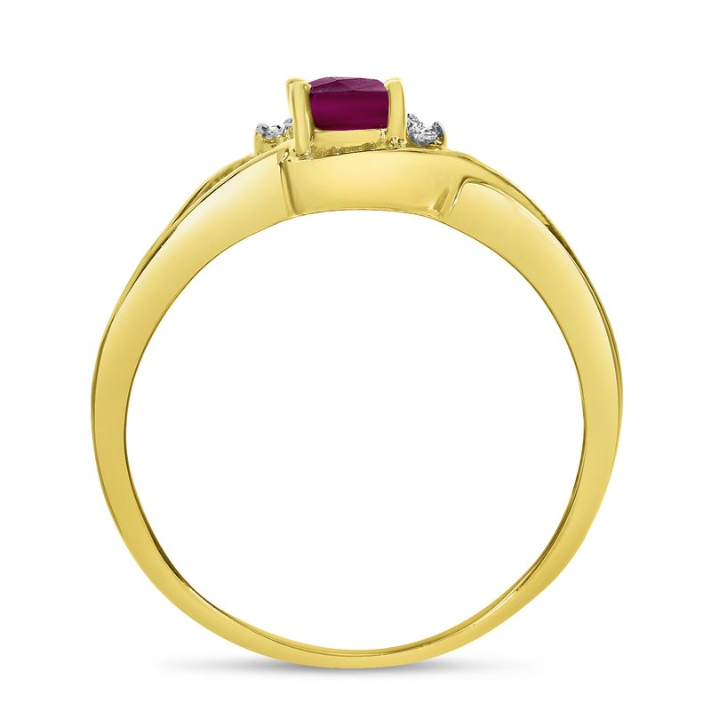Color Merchants 14k Yellow Gold Oval Rhodolite Garnet And Diamond Curve Ring
