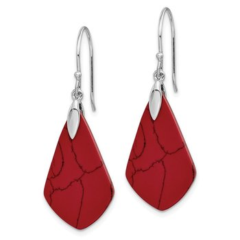 Sterling Silver Rhodium-plated Acrylic Red Stone Dangle Earrings