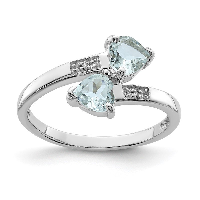 Quality Gold Sterling Silver Rhodium Aqua & Diamond Heart Ring