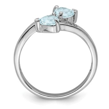 Sterling Silver Rhodium Aqua & Diamond Heart Ring