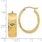 Quality Gold 14k Diamond Cut Oval Hoop Earrings