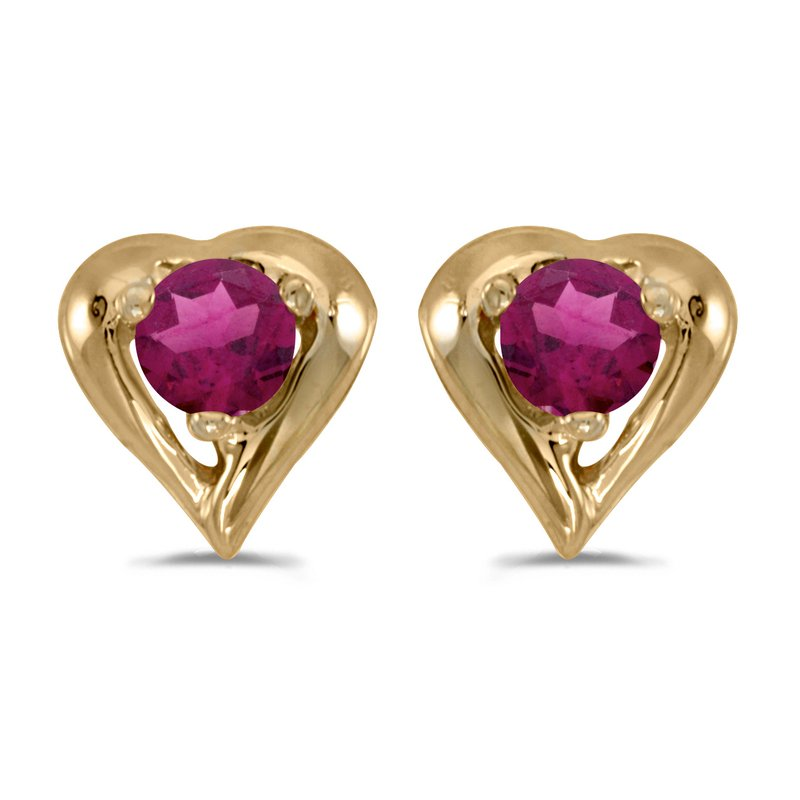 Color Merchants 14k Yellow Gold Round Rhodolite Garnet Heart Earrings