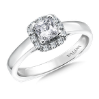 Valina Bridals Cushion shape halo mounting .14 ct. tw., 1/2 ct. Princess cut center.