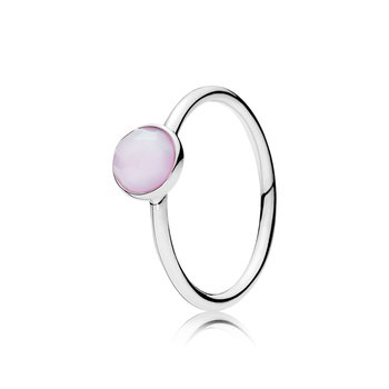 October Droplet Ring, Opalescent Pink Crystal