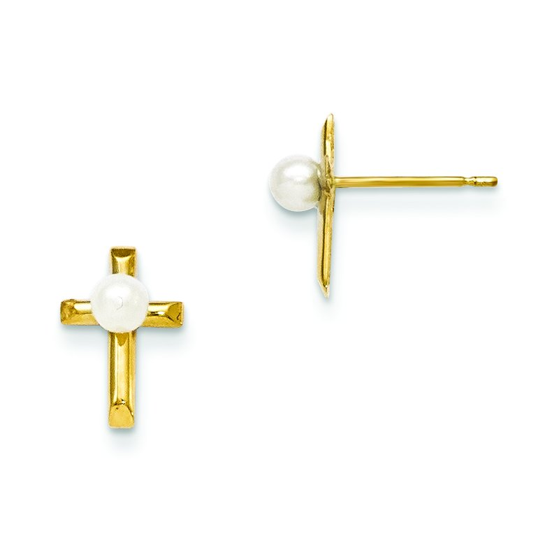 Quality Gold 14k Madi K FW Cultured Pearl Children's Cross Post Earrings