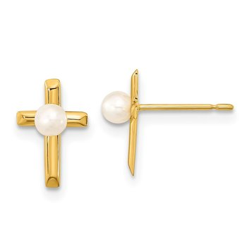 14k Madi K FW Cultured Pearl Children's Cross Post Earrings