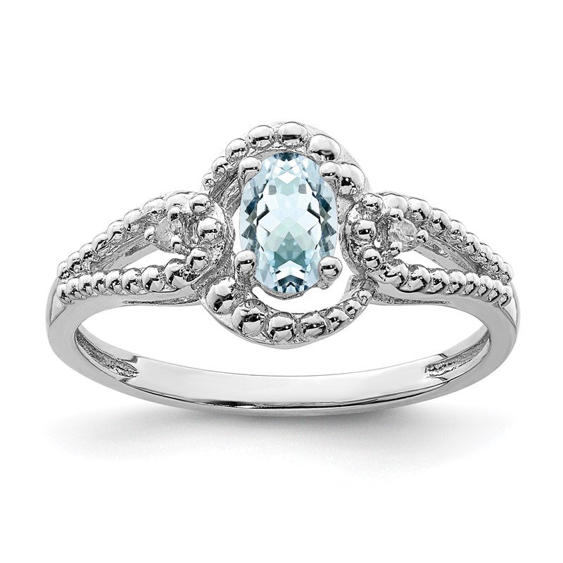 Quality Gold Sterling Silver Rhodium-plated Aquamarine & Diam. Ring