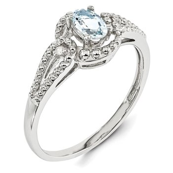 Sterling Silver Rhodium-plated Aquamarine & Diam. Ring