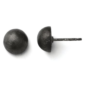 Leslie's SS Ruthenium Plated Scratch Finish 8-9mm Button Earrings