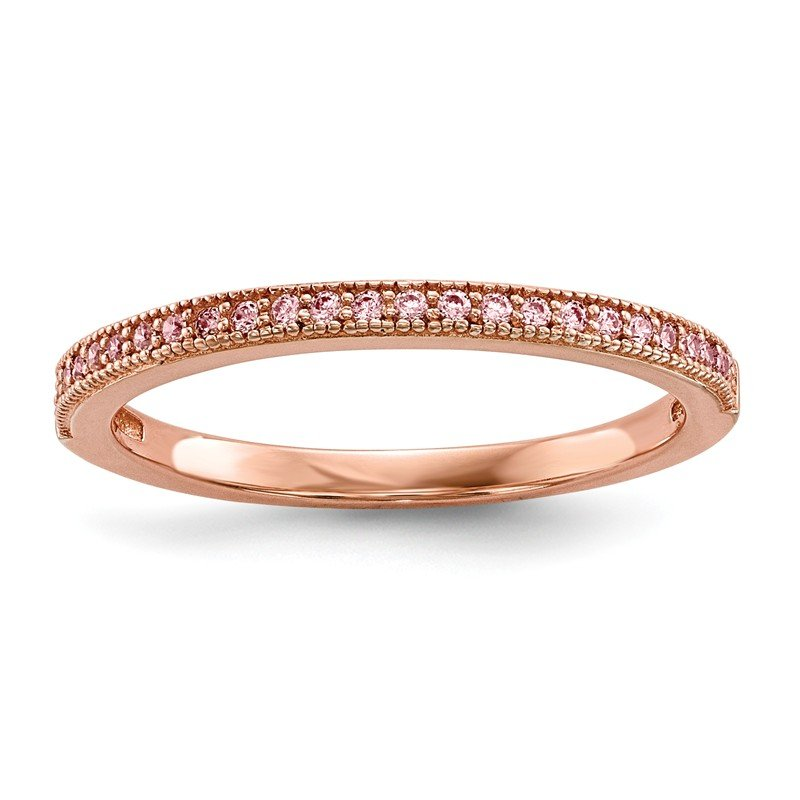 Quality Gold Sterling Silver Rose Gold-plated CZ Brilliant Embers Polished Ring