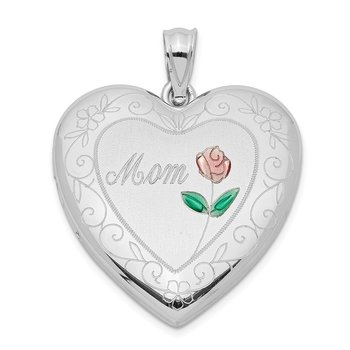 Sterling Silver Rhodium-plated 24mm Enameled D/C Mom Heart Locket