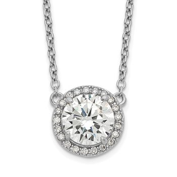 Sterling Silver Rhodium-plated Round CZ Halo w/1in ext Necklace