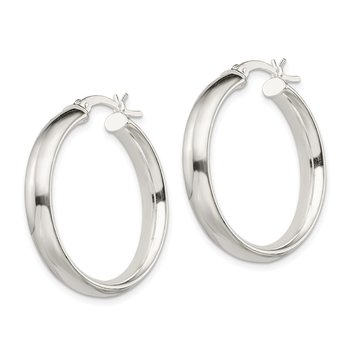 Sterling Silver 5x30mm Hoop Earrings