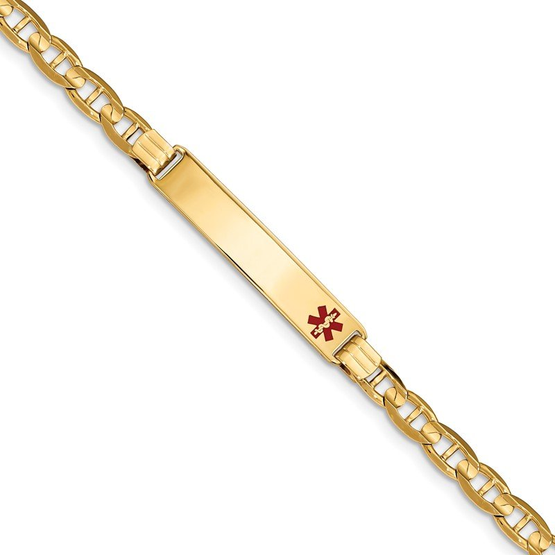 Quality Gold 14K Medical Red Enamel Anchor Link ID Bracelet