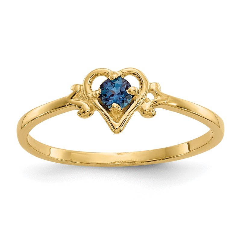 Quality Gold 14K Synthetic Alexandrite Birthstone Heart Ring