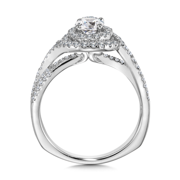 Halo Engagement Ring Mounting in 14K White Gold (.50 ct. tw.)