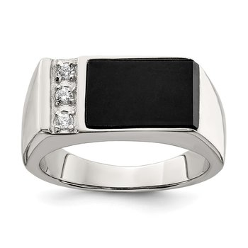 Sterling Silver Rhodium-plated Onyx & CZ Ring