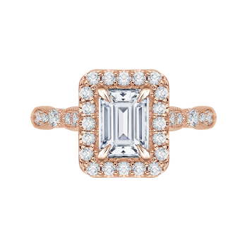 18K Rose Gold Emerald Cut Diamond Halo Vintage Engagement Ring (Semi-Mount)
