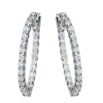 14k White Gold Oval Secure Lock In Out Hoops
