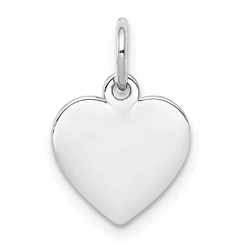 Quality Gold SS Rh-plt Engraveable Heart Polished Front/Satin Back Disc Charm