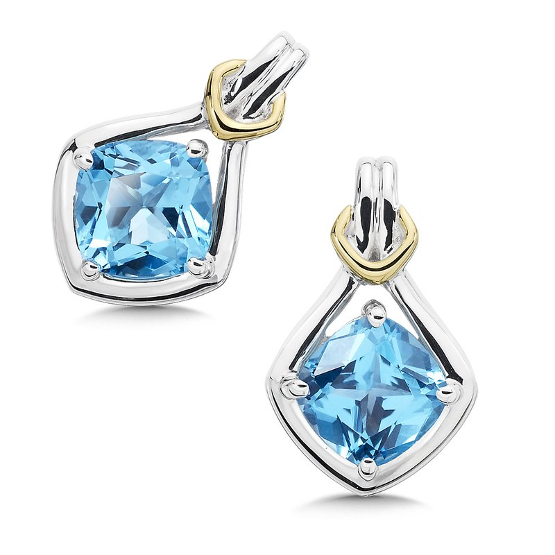 Colore Sg Sterling Silver, 18K Gold and Blue Topaz Earrings
