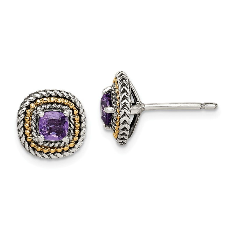 Shey Couture Sterling Silver w/ 14K Accent Amethyst Square Post Earrings