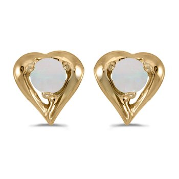 14k Yellow Gold Round Opal Heart Earrings