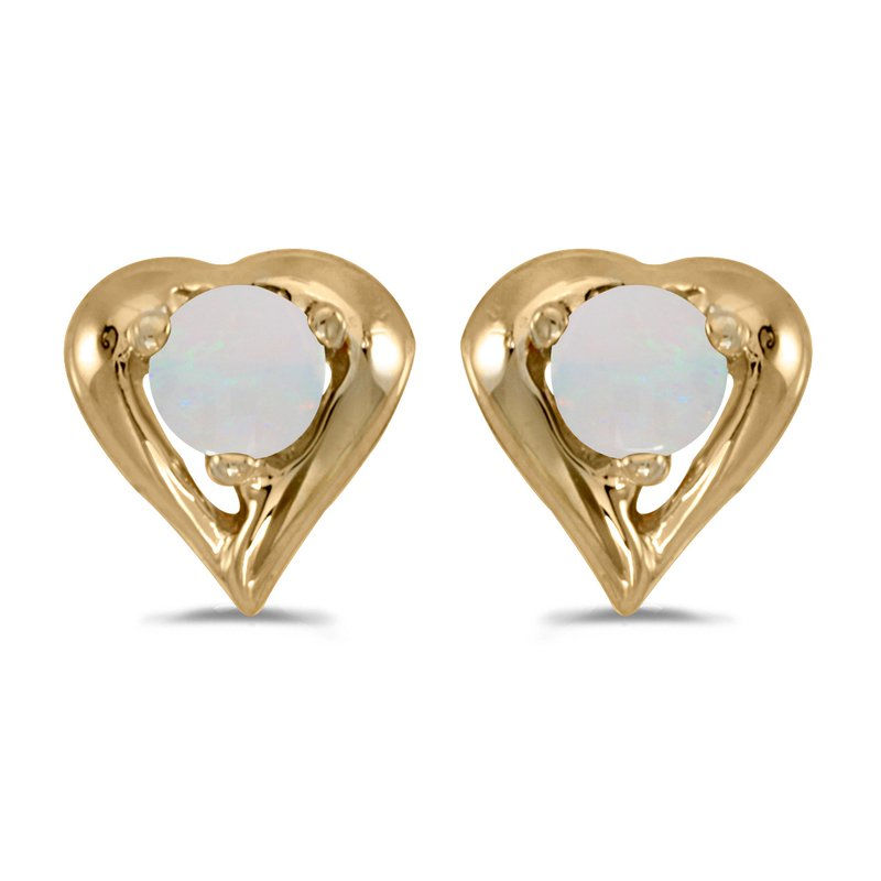 Color Merchants 14k Yellow Gold Round Opal Heart Earrings