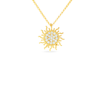 18Kt Gold Diamond Sun Pendant
