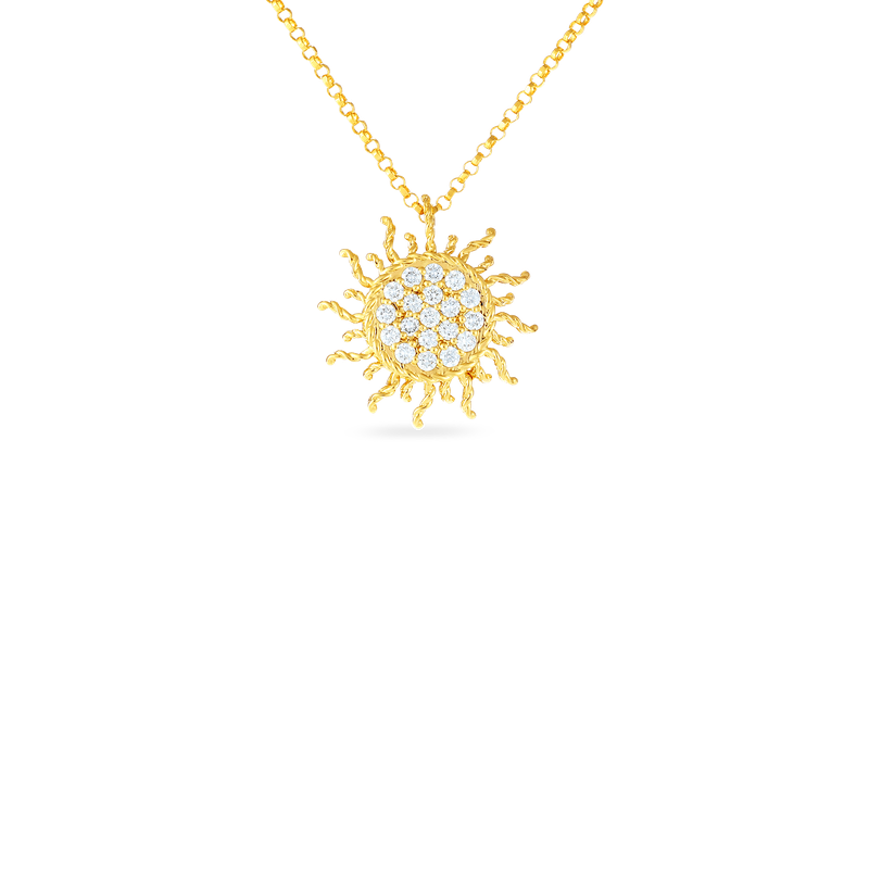 Roberto Coin 18Kt Gold Diamond Sun Pendant