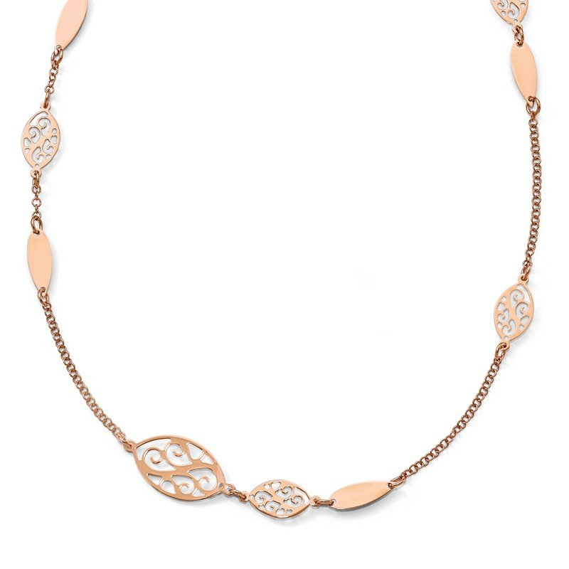 Leslie's Leslie's Sterling Silver Rose Gold-plated Polished Filigree Necklace