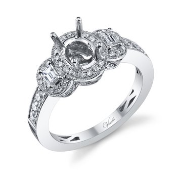 14K W RING 40RD 0.40CT 2BG 0.20CT