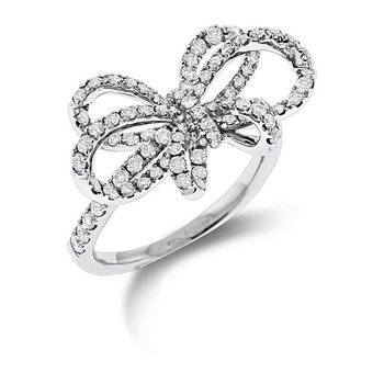 Diamond Bow Ring in 14k White Gold with 93 Diamonds weighing .87ct tw.