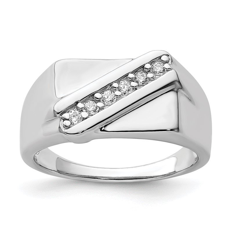 Sterling Silver Rhodium Plated Fancy CZ Ring