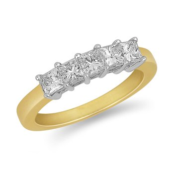 14K YG and diamond 5 Princess ring in prong setting