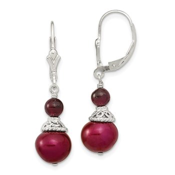 Sterling Silver Garnet/9-10mm Cranberry FWC Pearl Leverback Earrings