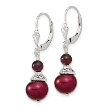 Sterling Silver Garnet and 9-10mm Cranberry FWC Pearl Leverback Earrings