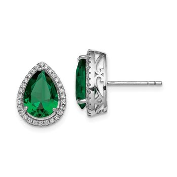 Sterling Silver Rhodium Simulated Emerald & CZ Post Earrings