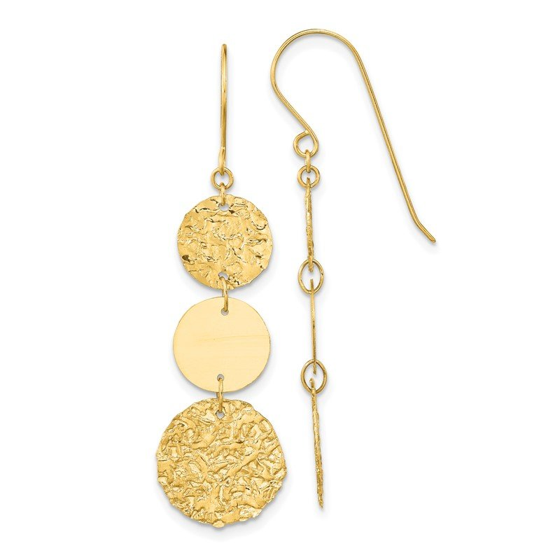 Quality Gold 14K 3-Tier Circle Drop Dangle Earring