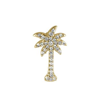 14K Yellow Gold .10 Ct Diamond Palm Tree Pendant