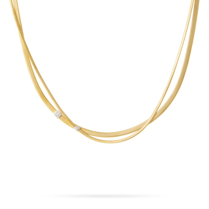 Marco Bicego Masai Three Strand Diamond Necklace in Yellow Gold
