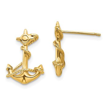 14k 3-D Anchor with Rope Post Earrings