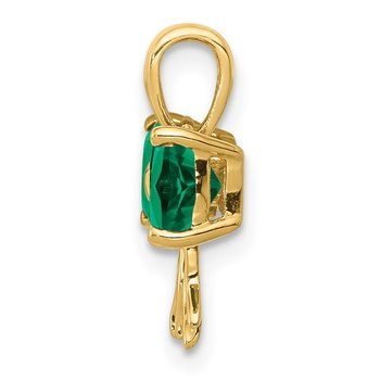 14k Gold Polished Created Emerald Bow Pendant