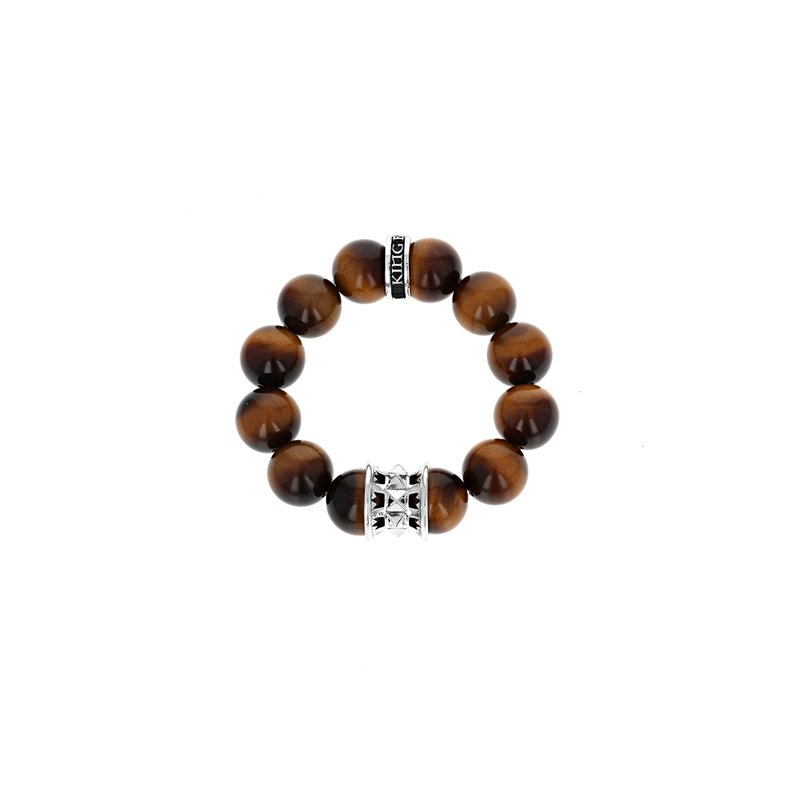 King Baby 16 Mm Round Tiger Eye Beaded Bracelet With Spike And Logo Bead
