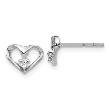14k White Gold AA Diamond Heart Post Earrings