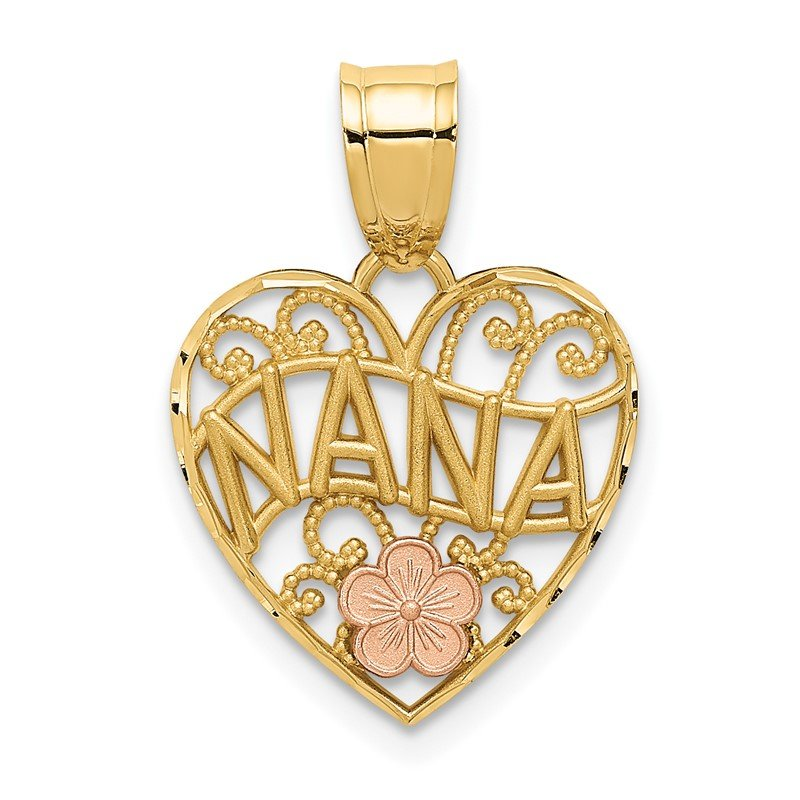 Quality Gold 14k Two-tone NANA Heart Pendant