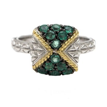 18KT AND STERLING SILVER EMERALD RING