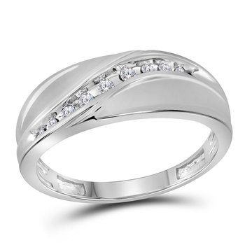 10kt White Gold Mens Round Diamond Single Row Fashion Band Ring 1/8 Cttw